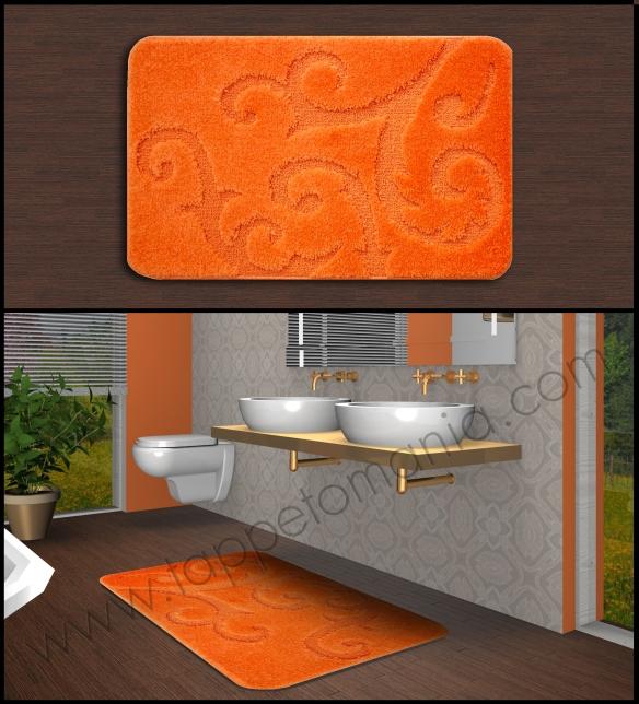 tappeti bagno arancione cotone antiscivolo,www.shoppinland.it